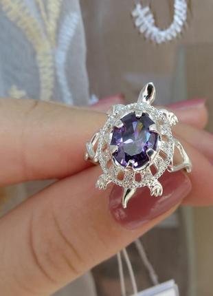 Кольцо черепашка с камнем