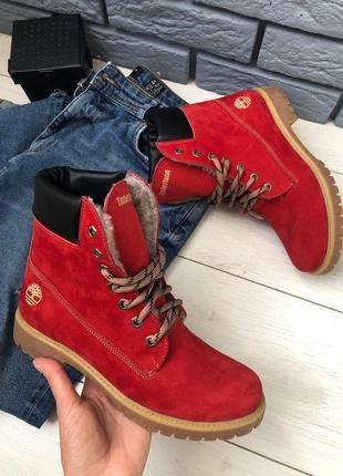 Зимние натуральные ботинки красные, нубук