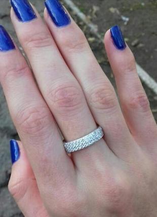 Шикарное кольцо с россыпью камней 3 ряда