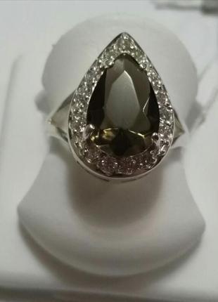 Кольцо анастасия из серебра с цирконием 17.5 размeр