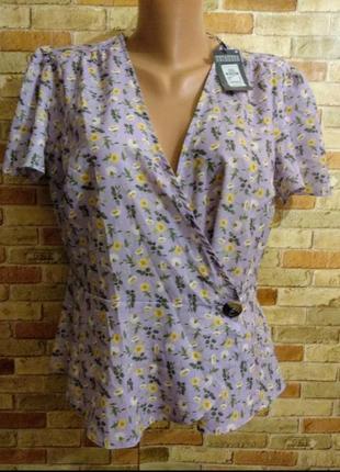 Новая блуза на запах цветочный принт 16/50-52 размера