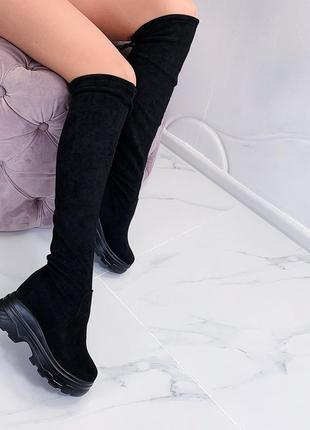 Замшевые сапоги ботфорты на платформе,стильные высокие ботфорт...