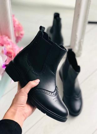 Женские зимние черные кожаные ботинки на резинке, челси 💥