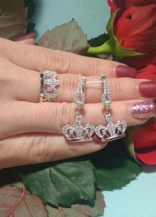 """Серебряное кольцо и серьги """"корона"""" с золотыми вставками сереб..."""