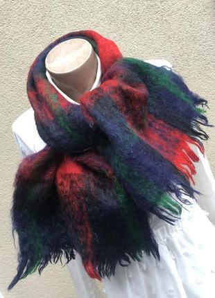 Винтаж,тёплый,мохеровый шарф в большую клетку,шерсть,унисекс,