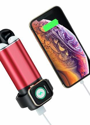 Внешний аккумулятор Power Bank 3 в 1 для Iphone, Apple Watch и...