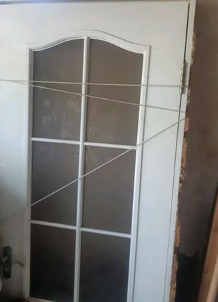 Дверь канадская со стеклом и ручкой