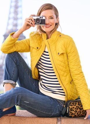 Желтая яркая куртка talbots стеганная деми ветровка классика