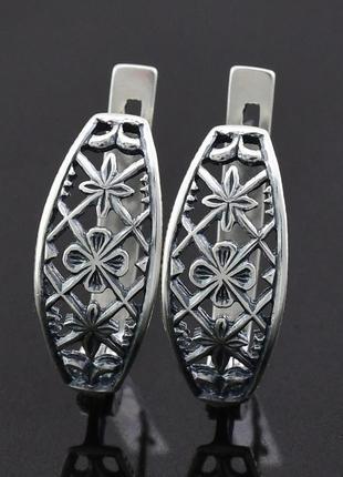 """Серебряные серьги """"аврора"""", размер 19*8 мм"""