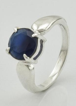 Серебряное кольцо  , вставка темно-синий алпанит