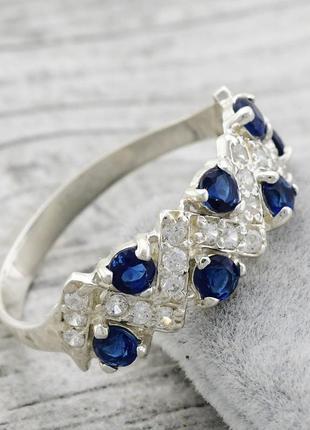 """Серебряное кольцо """"венок"""", вставка синие фианиты"""