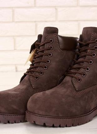Ботинки мужские💠зимние💠timberland brown с мехом, зимові чоловічі