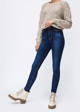 Зимние теплые джинсы на флисе синие длинные скини брюки с флис...