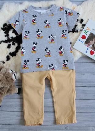 Стильный комплект коттоновые штаны и футболка с микки маус