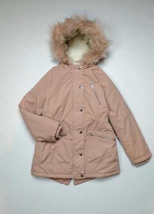 Куртка парка зимняя розовая для девочки рост 134