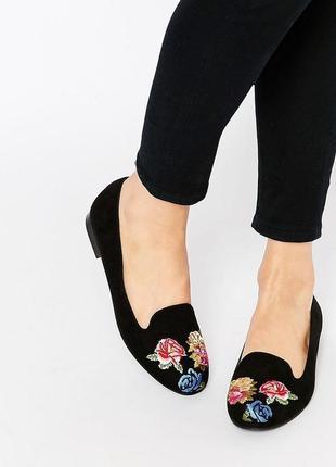Красивые туфли балетки с вышивкой цветы asos