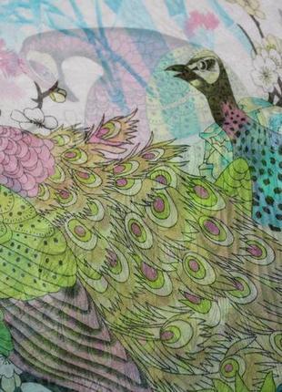 Красивый платок шарф шарфик птички павлины