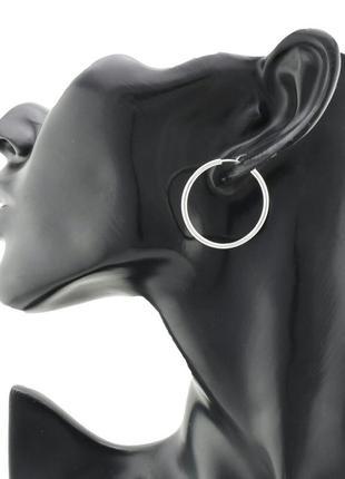 Серьги-кольца, размер 30*2 мм, , позолота белое золото