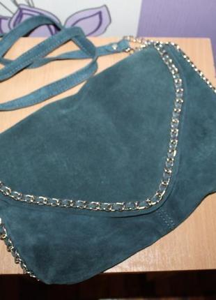 Замшевая сине серая сумка с цепями zara