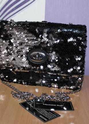 Шикарная сумка с пайетками на цепочке