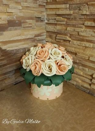 Светильник - розы в шляпной коробке