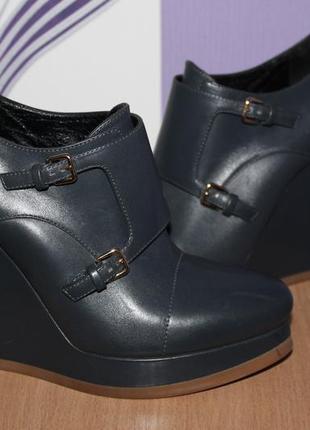 Кожаные серо синие ботильоны ботинки jil sander оригинал