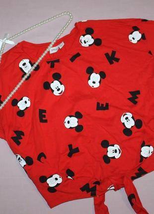 Укороченная футболка блуза с микки маус disney