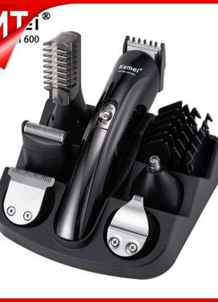Машинка триммер для стрижки волос KEMEI KM-600 (11 В 1 + Подст...
