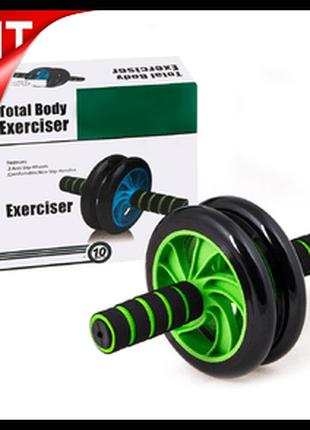 Гимнастическое спортивное фитнес колесо Double wheel Abs healt...