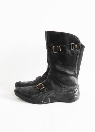 Черные кожаные осенние спортивные сапоги puma
