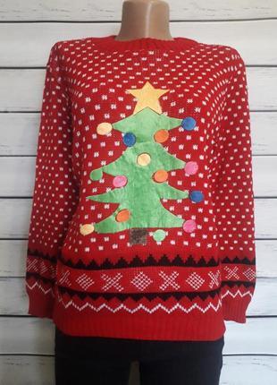 Новогодний тёплый свитер. кофта. джемпер с ёлкой