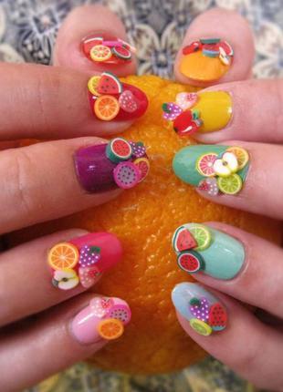 Фимо декор для ногтей фрукты 3d 🎀💅 1000 штук