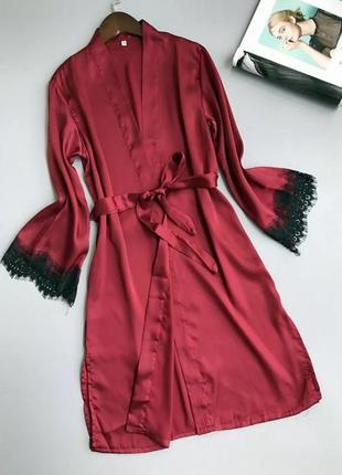 Атласный халат с кружевом, цвет марсала 48/50 размер