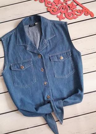 Джинсовая рубашка. топ на завязках