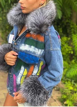 Женская джинсовая куртка с мехом, джинсовка с чернобуркой, m-xl