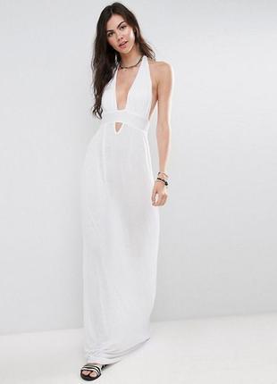 Длинное пляжное платье asos. белая длинная туника. накидка на ...