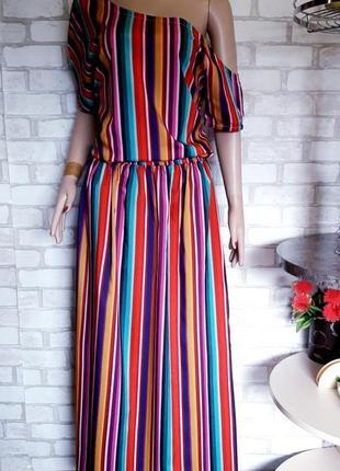 Длинное платье в полоску. сарафан открытие плечи