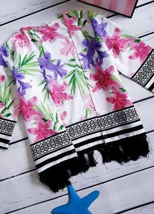 Пляжное детское кимоно. пляжная туника с бахромой. накидка на ...
