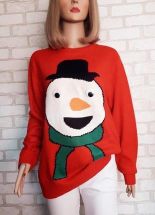 Джемпер новогодний. тёплый свитер 48/50 размер