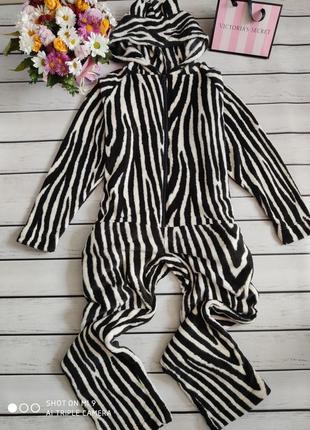 Махровая пижама. кигуруми зебра. комбинезон