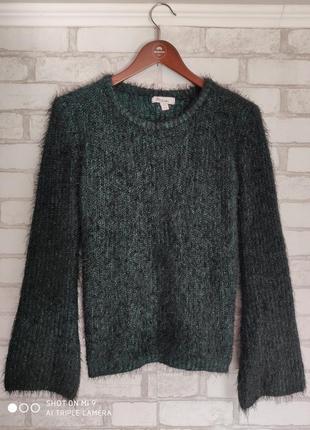 Вязаный свитер. свитер травка