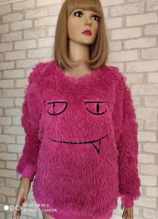 Свитер травка. пушистый джемпер смайлик. свитер оверсайз