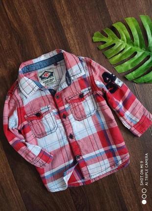 Рубашка в красную клетку 6/9 мес. рубашка в клетку