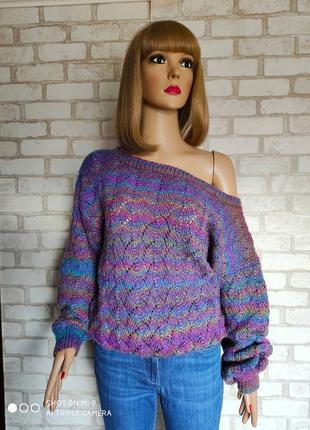 Вязаный радужный свитер. свитер оверсайз ручная работа. свитер...