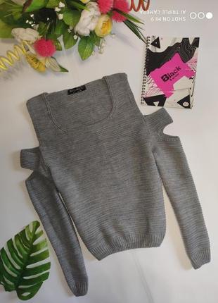 Вязаный свитер открытые плечи. тёплый свитер