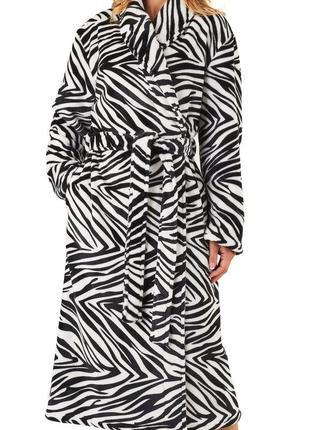 Махровый халат зебра. теплый женский халат. размер 48/50