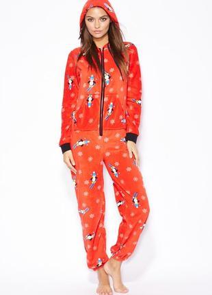 Тёплая пижама на флисе. кигуруми пингвин. слип. флисовая пижама