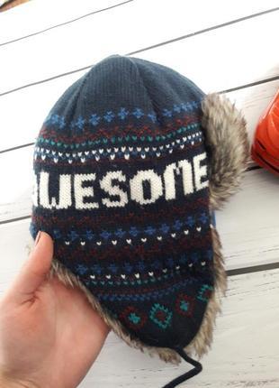 Зимняя шапка на мальчика. шапка ушанка с мехом внутри