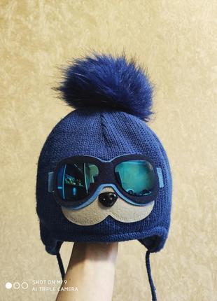 Зимняя шапка с бубоном. шапка с очками