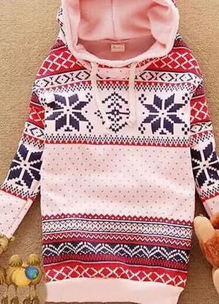 Новогодний свитер. джемпер на байке новогодний принт